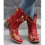 BUTITI Women's Western Boots RED - Red & Yellow Floral Embroidered Cowboy Boots - Women
