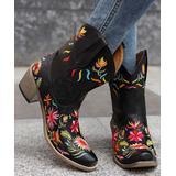 BUTITI Women's Western Boots Black - Black & Red Floral Embroidered Cowboy Boots - Women