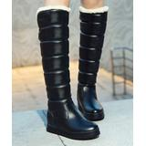 BUTITI Women's Casual boots Black - Black Quilted Knee-High Boot - Women