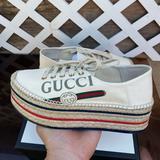 Gucci Shoes | Gucci Espadrilles Platform Logo Canvas Womens Shoe | Color: Cream | Size: 8