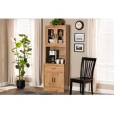Baxton Studio Laurana Modern and Contemporary Oak Brown Finished Wood Kitchen Cabinet and Hutch - Wholesale Interiors WS883200-Wotan-Oak