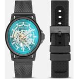 Gunmetal Mesh Automatic Watch With Interchangeable Band - Blue - Kenneth Cole Watches