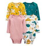 Carter's Girls' Infant Bodysuits Assorted - Yellow & Pink Pin Dot & Floral Long-Sleeve Bodysuit Set - Newborn & Infant