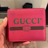 Gucci Bags   Gucci Logo Print Leather Bifold Wallet   Color: Green/Pink   Size: Os