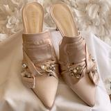 Nine West Shoes | Nine West Macadamia Lt Natural Pointed Toe Mule 10 | Color: Cream | Size: 10