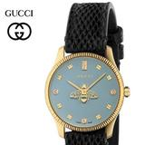 Gucci Accessories   Gucci G-Timeless Diamond Dial Leather Strap Women   Color: Blue/Gold   Size: Os