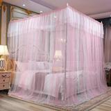 choicestrade 4 Corner Post Type Canopy Bed Curtain, Suitable For Girls, Boys & Adults - 4 Openings - Bedroom Decoration Polyester in Pink   Wayfair