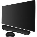 long_ye_da Extended Mouse Desk Pad Vinyl in Black, Size 0.12 H x 31.5 W x 15.7 D in | Wayfair H528170836FQTVV-02