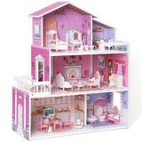 ROFITALL Wooden Dollhouse Playset, 3 Stories, 5 Rooms, 24 PCS Furniture, Pretend Play Toys Gift For Toddlers Girls, Size 27.8 H x 23.7 W x 9.4 D in