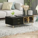 Mercer41 4-Drawer Coffee Table Whit 2-Door Cabinet Faux Marble, Size 17.5 H x 47.2 W x 23.6 D in   Wayfair FBC93612A0034922A1642FDD4DE27267