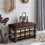 Canora Grey Shoe Bench, Storage Rack Organizer w/ Cushion, 2-Tier Shoe Rack For Entryway, w/ Seating Soft Leather Cushion in Brown   Wayfair