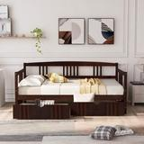 Red Barrel Studio® Twin Size Daybed Wood Bed w/ Two Drawers Wood in Brown, Size 41.2 W x 78.6 D in | Wayfair 3C9C68F45D5C4370B80CFD480158EB92