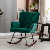 House of Hampton® Modern Velvet Rocking Chair For Living Room Upholstered Comfortable Nursery Rocking Chair w/ Solid Wood Base For Bedroom Accent Chair (Pink) Solid + Manufactured Wood/Wood/Velvet