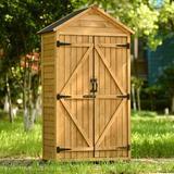 wuudi Outdoor Garden Storage Shed, 5.8Ft X 3Ft Wood Lean-To Storage Shed Tool Organizer w/ Waterproof Asphalt Roof, Lockable Doors in Brown   Wayfair