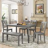 Rosalind Wheeler 6-Piece Wooden Kitchen Table Set, Farmhouse Rustic Dining Table Set w/ Cross Back 4 Chairs & Bench,Antique wash in Gray   Wayfair