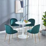 Mercer41 Round Table Upholstered Back Chair Sets For Dining Room Wood/Metal/Upholstered Chairs in Brown/White | Wayfair