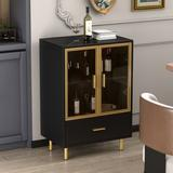 "Mercer41 Bette-Ann 24"" Wide 1 Drawer Sideboard Wood in Black/Brown/Yellow, Size 35.0 H x 24.0 W x 16.0 D in   Wayfair"