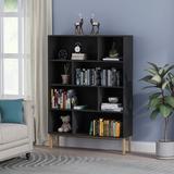 Everly Quinn Bookcase Storage Shelves 8-Cube Organizer Bookshelf Cube Compartments Floor Standing Wood Open Bookshelves For Office Home Shelf Display For Cd/Magazi Wood