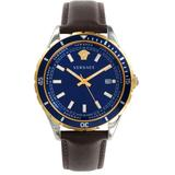 Stainless Steel & Leather Strap Watch - Blue - Versace Watches