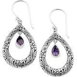 Sterling Silver Open Amethyst Drop Earrings In Purple At Nordstrom Rack - Purple - Samuel B. Earrings