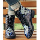 ROSY Women's Casual boots Blue - Black & Blue Tentacle Skull Lace-Up Boots - Women