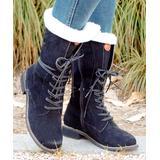 YASIRUN Women's Casual boots Black - Black Fleece-Accent Combat Boot - Women