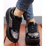 RXFSP Women's Sneakers Black - Black Glitter Leather Platform Sneaker - Women