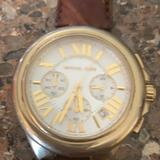 Michael Kors Accessories   Michael Kors Watch Large Face Leather Band   Color: Brown/Gold   Size: Mens Adjustable