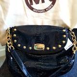 Michael Kors Bags | Michael Kors Black Leather Python Bag | Color: Black/Gold | Size: Os
