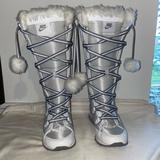 Nike Shoes | Nike Womens White Fur Snow Boot Shoe Size 6 | Color: Silver/White | Size: 6