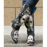 PAOTMBU Women's Casual boots BLACK - Black & White Floral Sugar Skull Cowboy Boot - Women