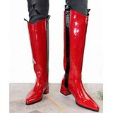 YOUTHJUNE Women's Casual boots Wine - Red & Black Stripe Patent Leather Riding Boot - Women