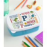 Personalized Planet Lunch Bags and Lunch Boxes Blue - Blue & White Primary Personalized Initial Lunch Container & Lid