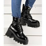 YASIRUN Women's Casual boots Black - Black Brilliant Platform Combat Boot - Women