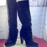 Michael Kors Shoes | Black Suede Michael Kors High Knee Boots Size 9. | Color: Black | Size: 9