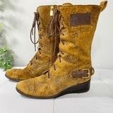 Michael Kors Shoes   Michael Kors Mid-Calf Boots Leather Lace Up Wedge   Color: Brown/Tan   Size: 7