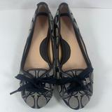 Coach Shoes | Coach Jayne Ballet Flats Signature C Laceup Shoes | Color: Black/Gray | Size: 8m
