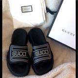 Gucci Shoes | Gucci Mens Sandals Nwt Avail Mens Uk 9&10 | Color: Black/White | Size: Uk 9=Us 10 Uk10=Us11