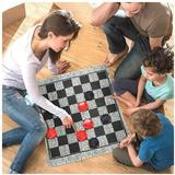 fedigorlocn Super Tic Tac Toe & Giant Checkers Set Board Game w/ 24 Checker Pieces Reversible Rug, Classic Indoor & Outdoor Activity For & Adults