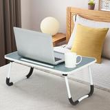 Kunpeng Foldable Large Laptop Desk Lazy Desk Wood/Metal in Blue, Size 11.0 H x 23.6 W x 15.7 D in   Wayfair WY21082319106002
