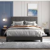 Latitude Run® Upholstered Platform Bed w/ Tufted Headboard Wood in Gray, Size 64.3 W x 84.8 D in | Wayfair 078434B06DA0427685E2FC4B59F49853