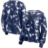 Women's Fanatics Branded White/Navy Dallas Cowboys Sport Resort Tie-Dye V-Neck Long Sleeve T-Shirt