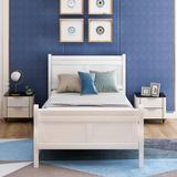 Alcott Hill® Wood Platform Bed (Headboard/Footboard) Wood in White, Size 41.3 W x 81.4 D in | Wayfair C3A808BF18BA424E910141EEE2F9A346
