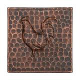 """Premier Copper Products 4"""" X 4"""" Hammered Copper Rooster Tile - Quantity 8 Metal in Brown, Size 4.0 H x 4.0 W x 0.38 D in   Wayfair T4DBR_PKG8"""
