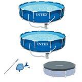 "Intex 12'X30"" Swimming Pool W/Pump (2 Pack), Maintenance Kit & 12' Pool Cover in Gray, Size 16.8 H x 12.1 W in | Wayfair 176092"