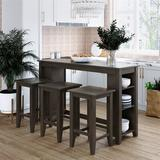 Red Barrel Studio® 4-piece Rustic Farmhouse Counter Height Wood Kitchen Dining Table Set w/ 3 Stools & Storage Shelves in Gray, Size 36.0 H in
