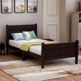 Alcott Hill® Wood Platform Bed (Headboard/Footboard) Wood in Brown, Size 41.3 W x 81.4 D in | Wayfair 5D811E16A8764C26B95F3EEA31F485E9