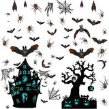 The Holiday Aisle® 90 Pcs Halloween Window Clings, Double Side Spider Bat Window Wall Stickers, Removable Halloween Party Window Decor Decals
