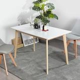 George Oliver Modern Dining Table Solid Wood Dining Light Brown Solid Wood Base,White MDF Top(NO Chairs & Benches) Wood in Brown/White/Yellow