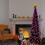 The Holiday Aisle® Halloween Tree w/ 50 LED Purple Strings Lights Timer Pumpkin Ornaments Top Pop Up Artificial Pencil Tree Halloween Scary Decorations Home Fireplace